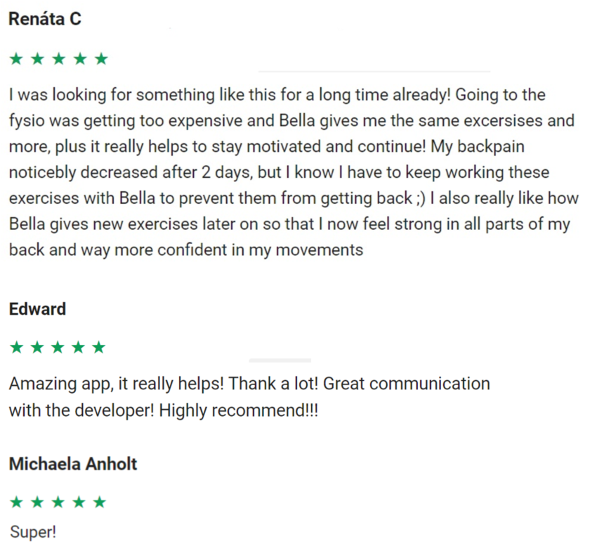 reviews bella back pain